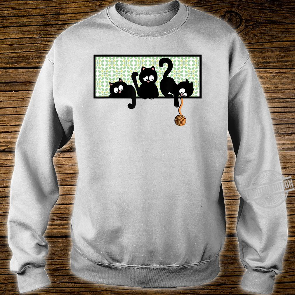 Black Cat Kittens Playing on Shelf w Yarn Kid Shirt sweater