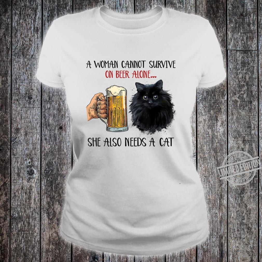 Black Cat Kitty Kitten Beers Apparel Shirt ladies tee