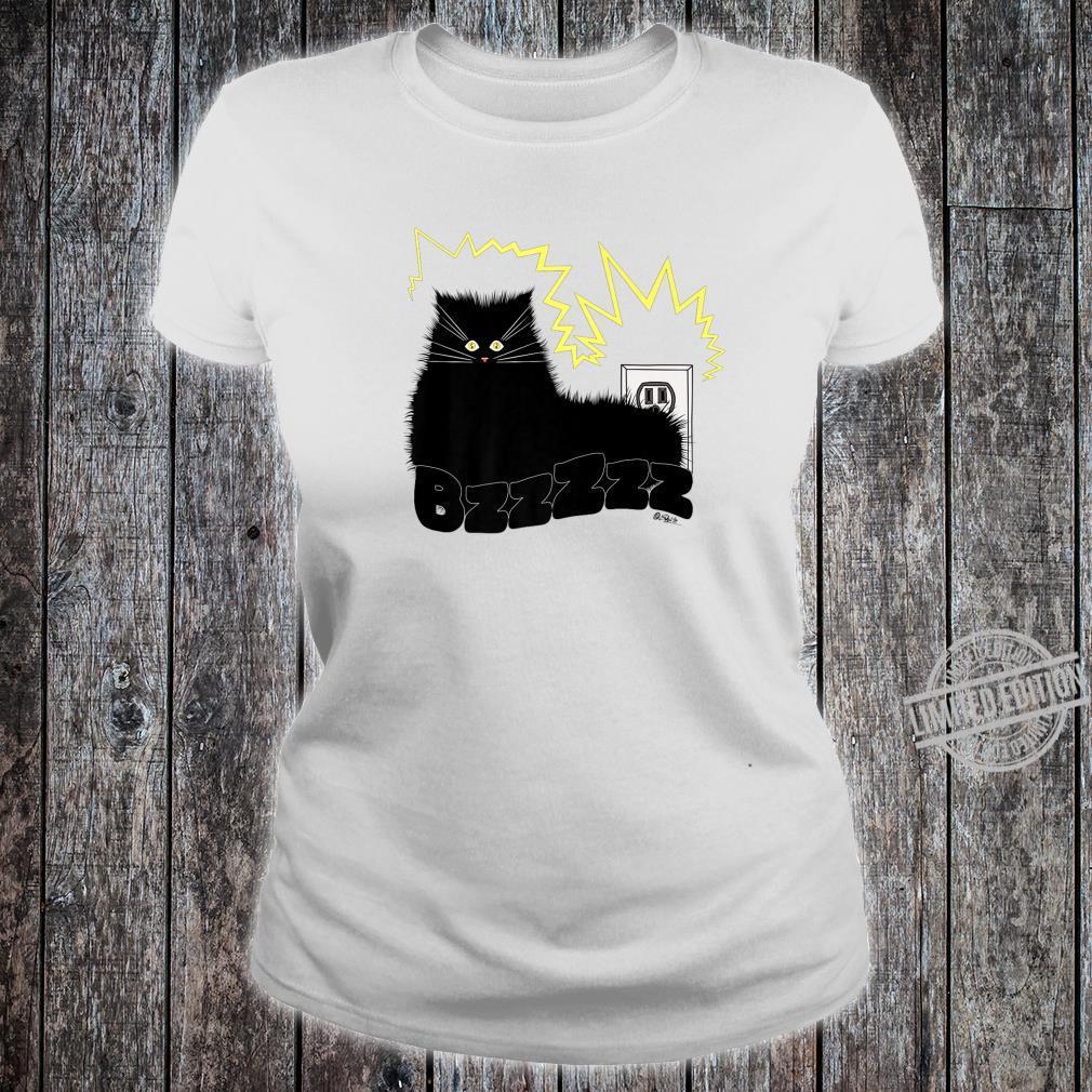 Black Cat Poe Electrocuted Tail In Socket Shirt ladies tee