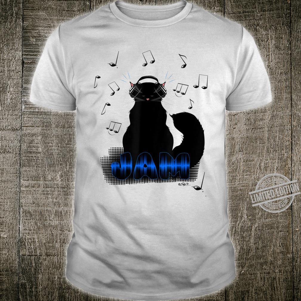 Black Cat Poe Jam Noise Cancel Headphones Shirt