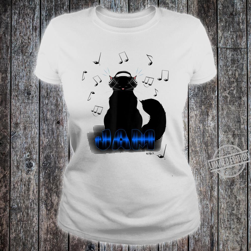Black Cat Poe Jam Noise Cancel Headphones Shirt ladies tee