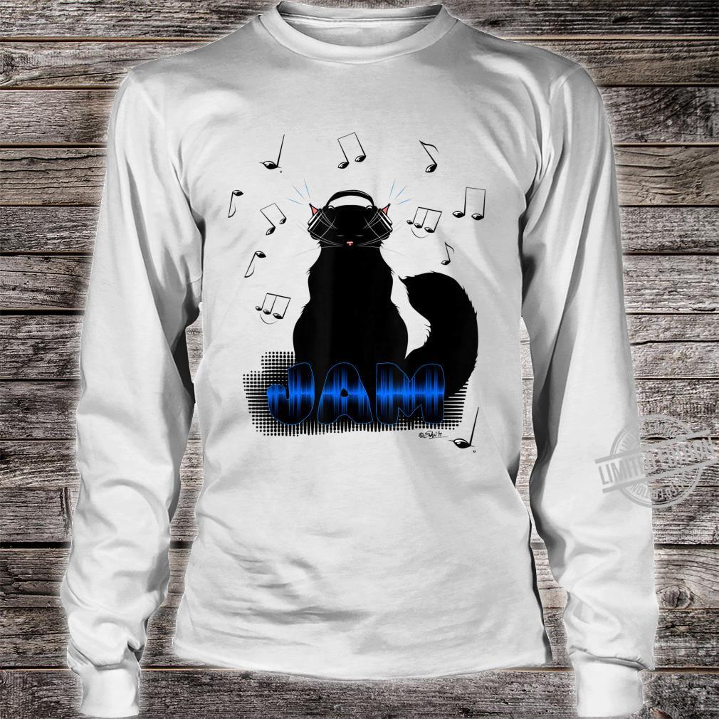 Black Cat Poe Jam Noise Cancel Headphones Shirt long sleeved