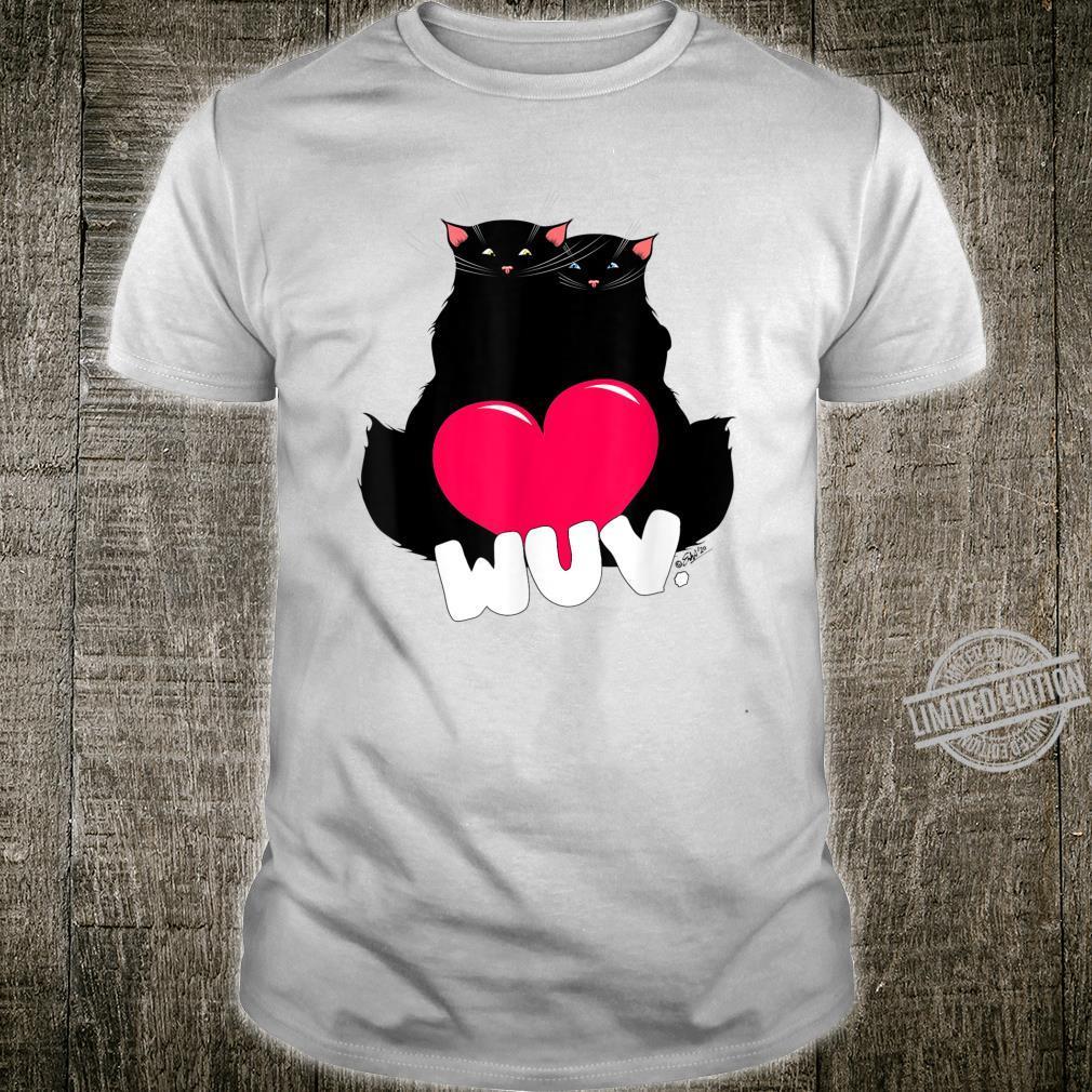 Black Cat Poe Wuv Love Valentine's Day Shirt