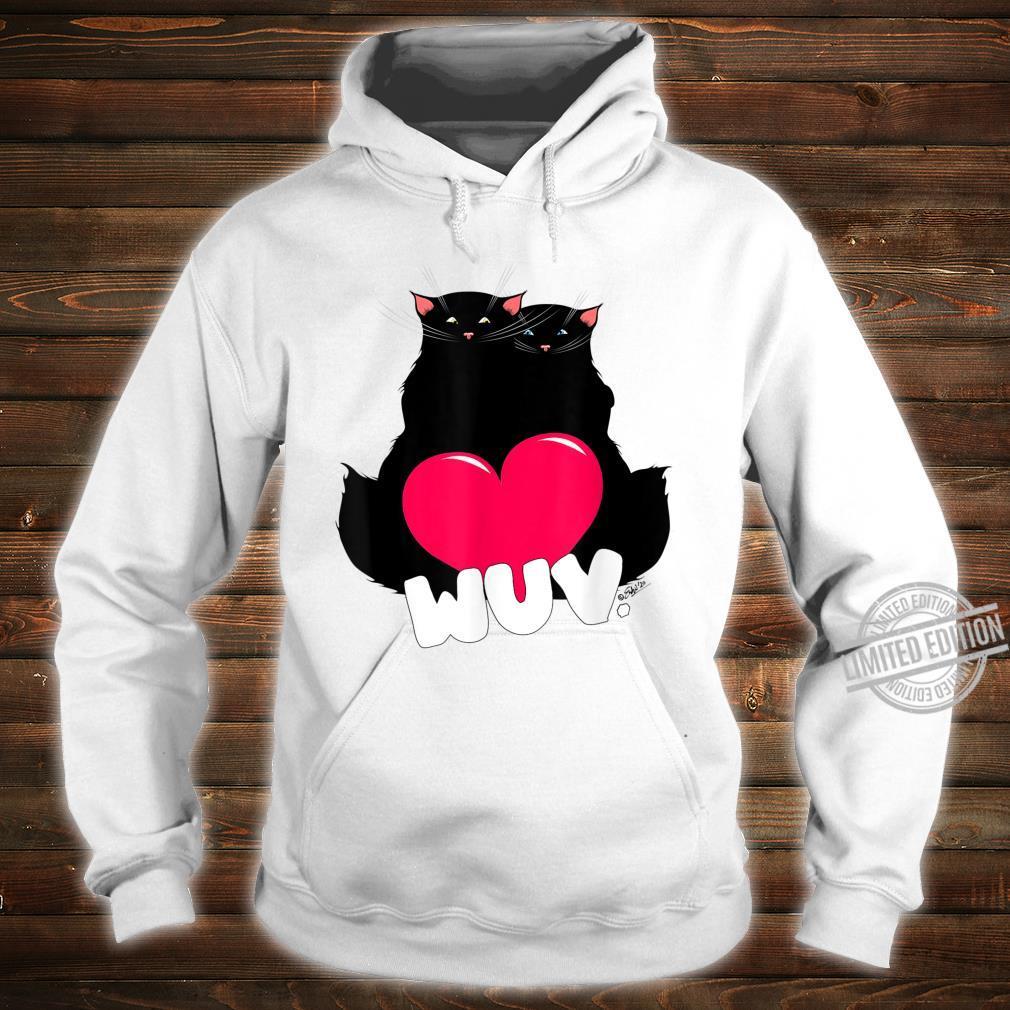 Black Cat Poe Wuv Love Valentine's Day Shirt hoodie