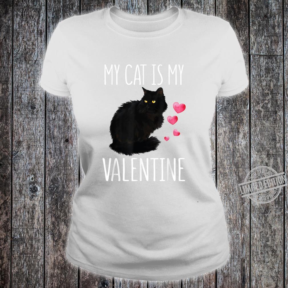 Black Cat Shirt For Valentine's Day My Cat Is My Valentine Shirt ladies tee