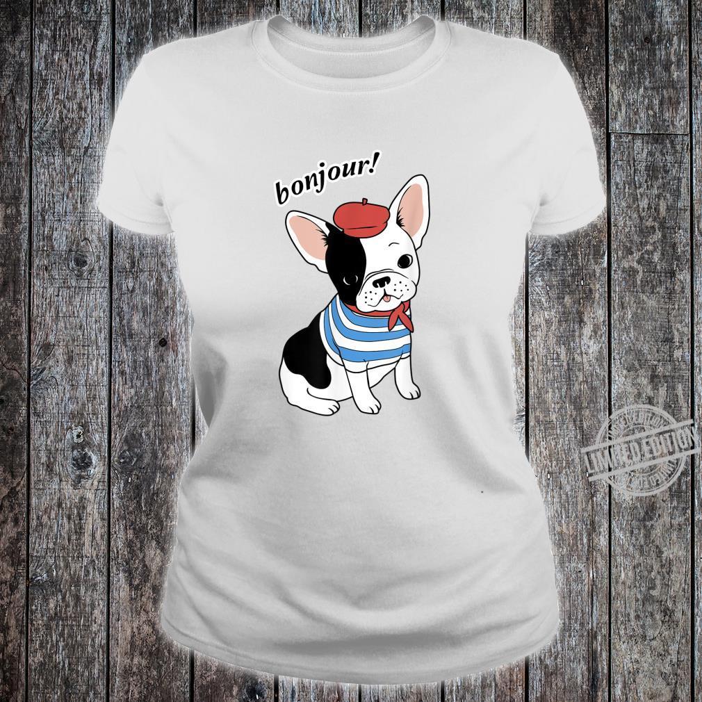 Bonjour French Bulldog Mom Dad Shirt ladies tee
