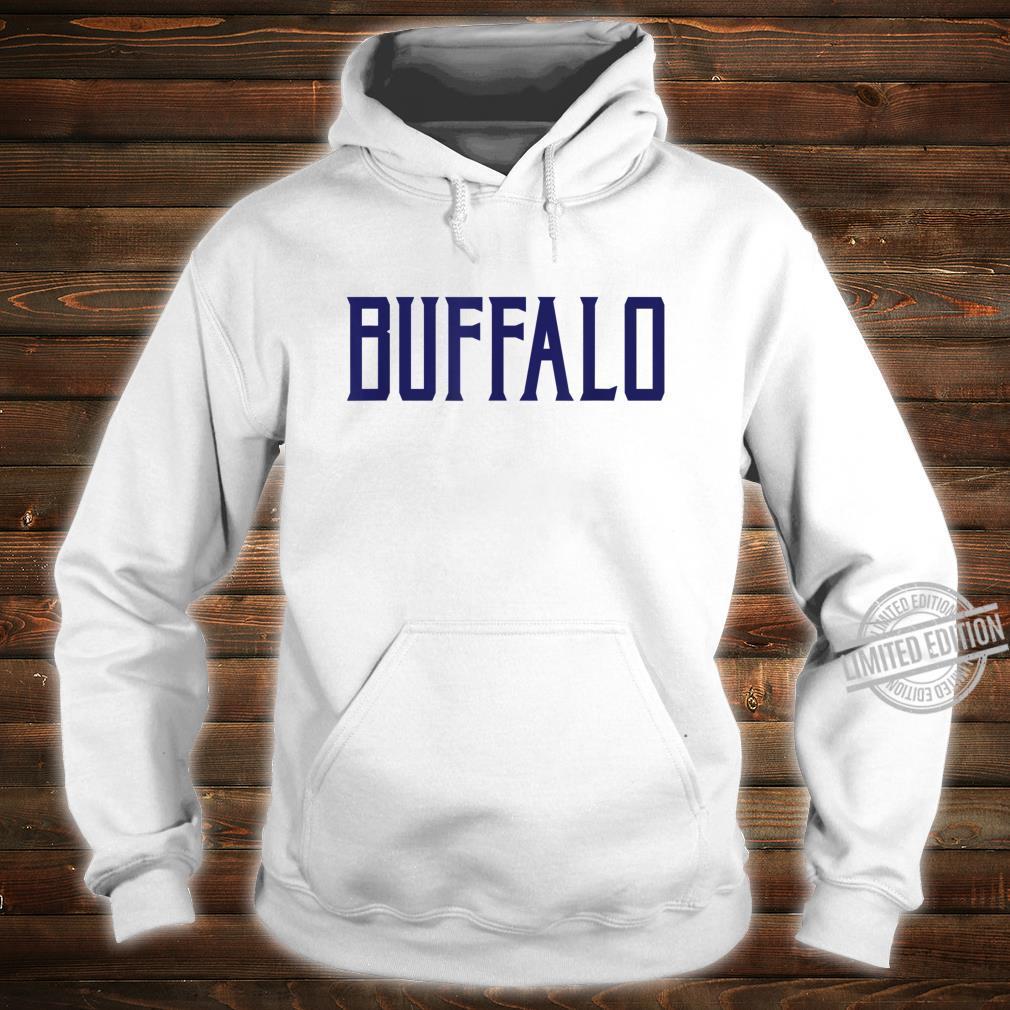 Buffalo Vintage Text Navy Blue Print Shirt hoodie