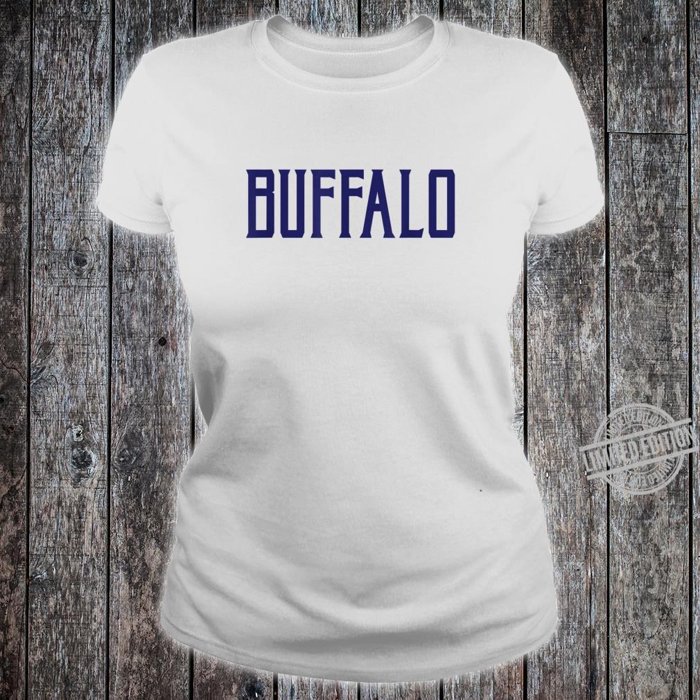 Buffalo Vintage Text Navy Blue Print Shirt ladies tee