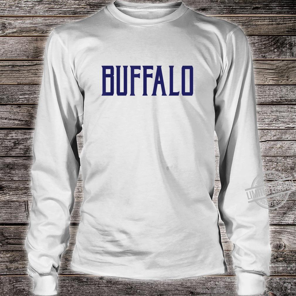 Buffalo Vintage Text Navy Blue Print Shirt long sleeved