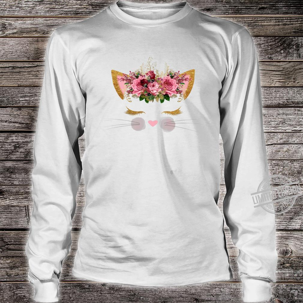 Cat Face Pink Girl Birthday School Princess Kitty Kitten Shirt long sleeved