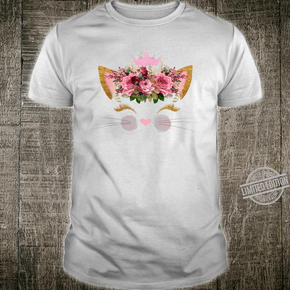 Cat Face Pink Rose Smiley Pink Crown Girls Birthday Shirt