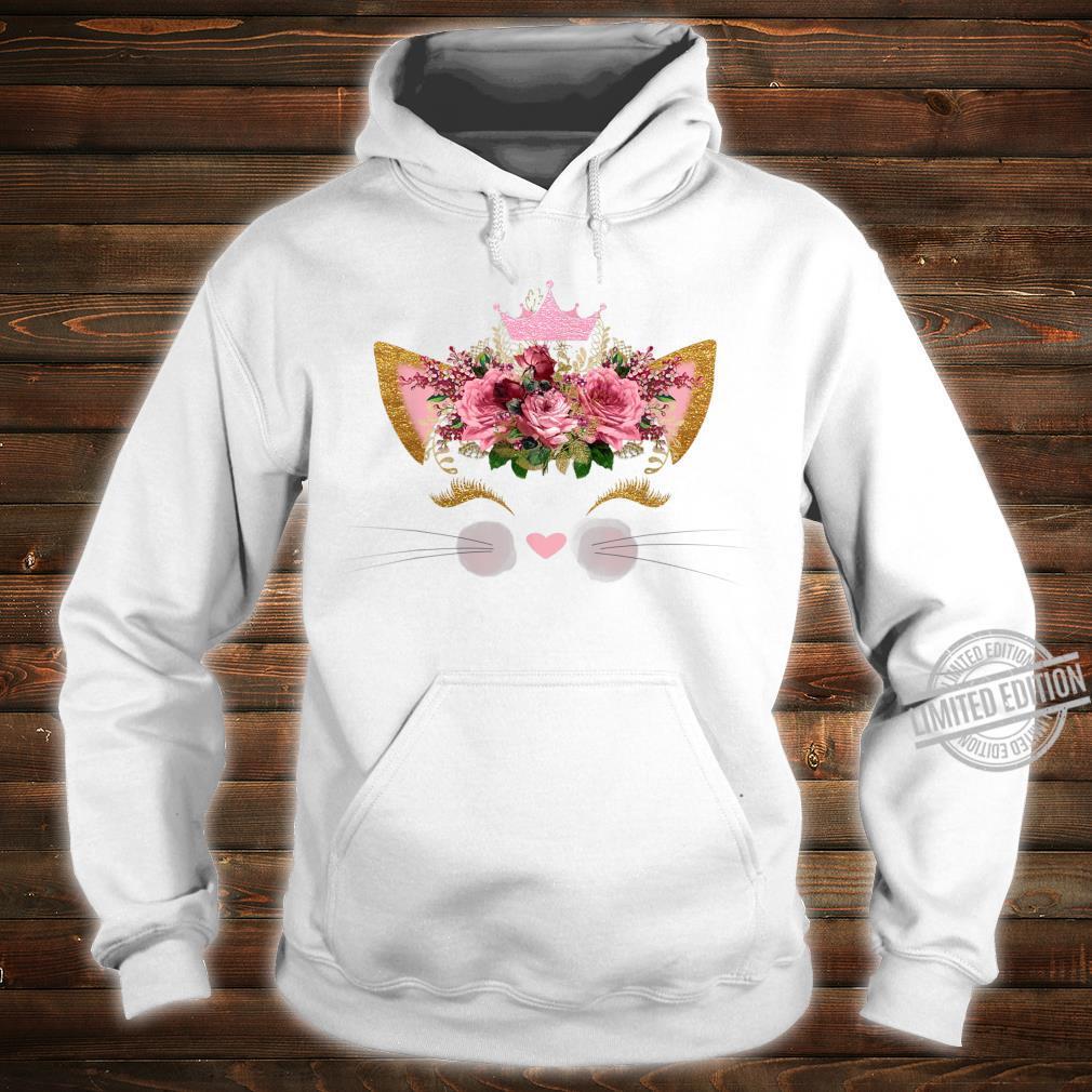 Cat Face Pink Rose Smiley Pink Crown Girls Birthday Shirt hoodie