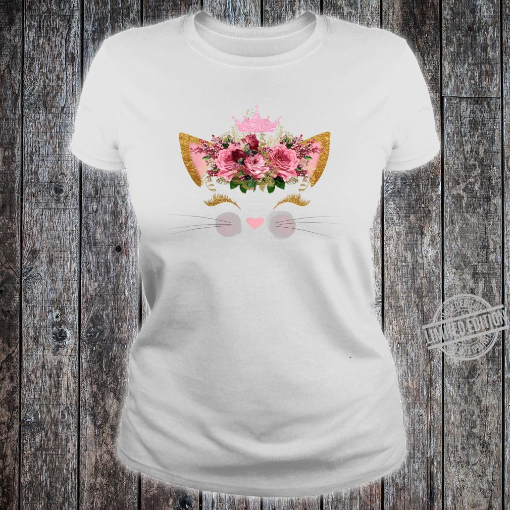 Cat Face Pink Rose Smiley Pink Crown Girls Birthday Shirt ladies tee