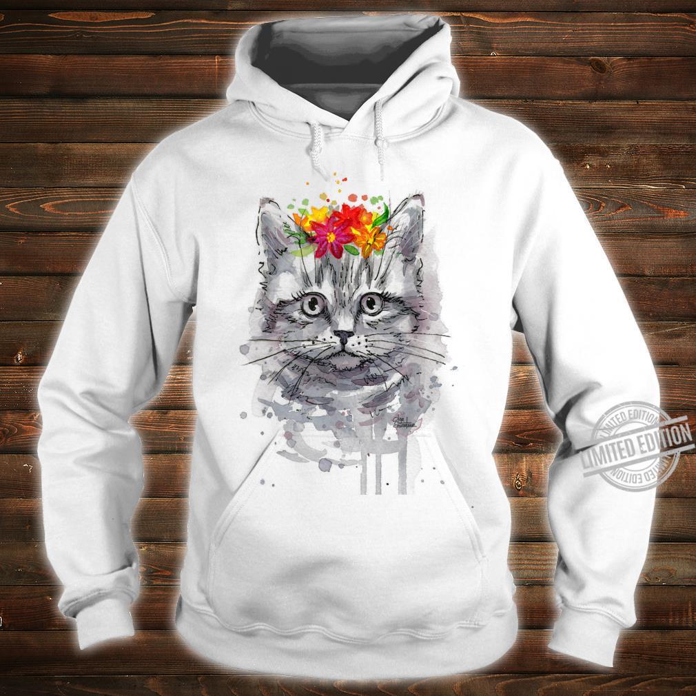 Cat Floral Shirt, Cat, Short Sleeve Cute Cat Shirt hoodie