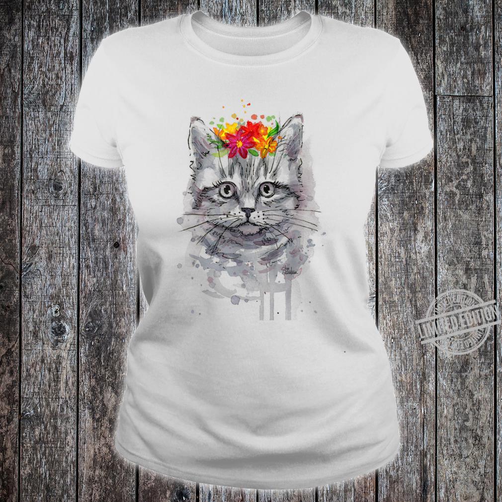 Cat Floral Shirt, Cat, Short Sleeve Cute Cat Shirt ladies tee