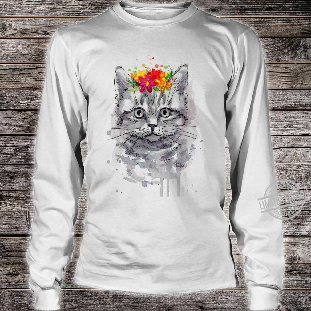 Cat Floral Shirt, Cat, Short Sleeve Cute Cat Shirt long sleeved