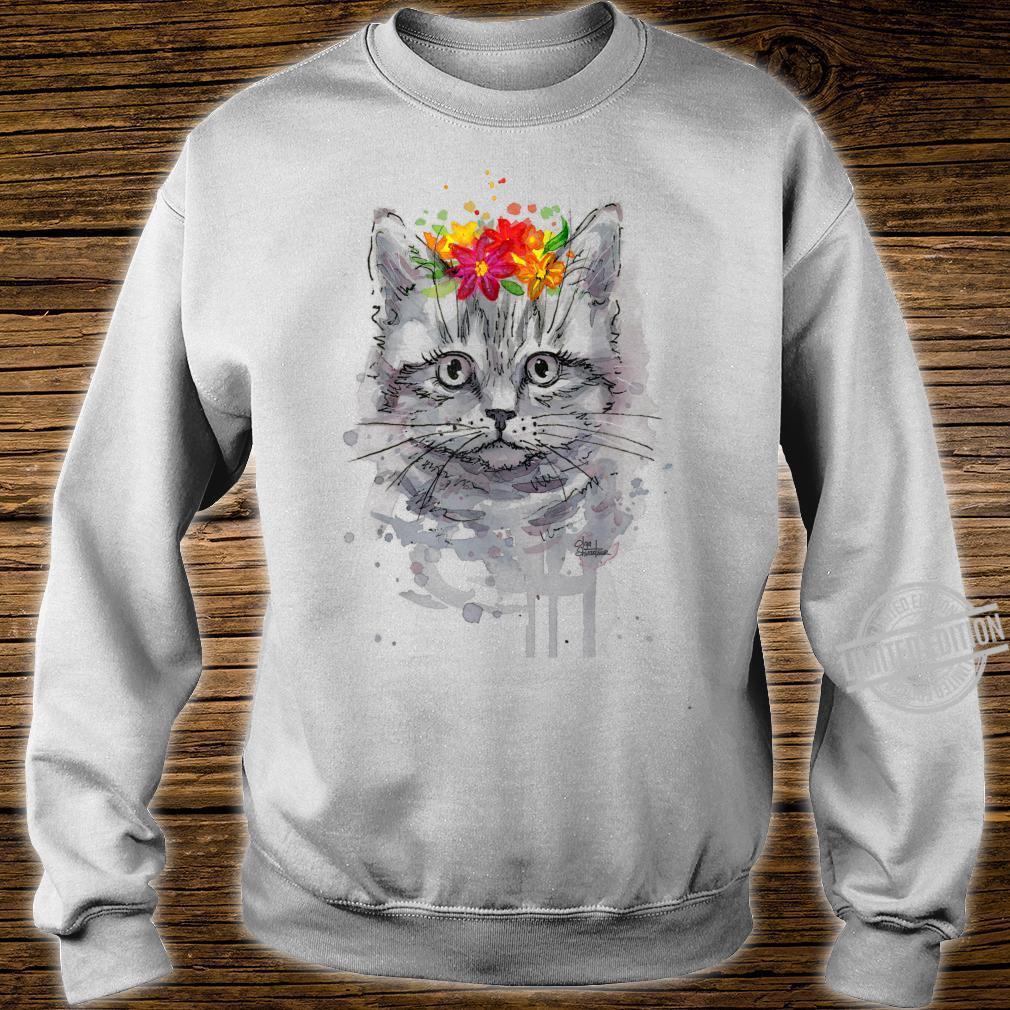 Cat Floral Shirt, Cat, Short Sleeve Cute Cat Shirt sweater